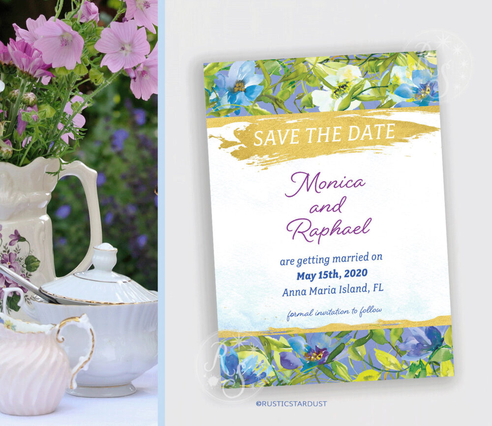 Blue Garden Floral Bridal Save The Date Invitation - Digital Or Printed File