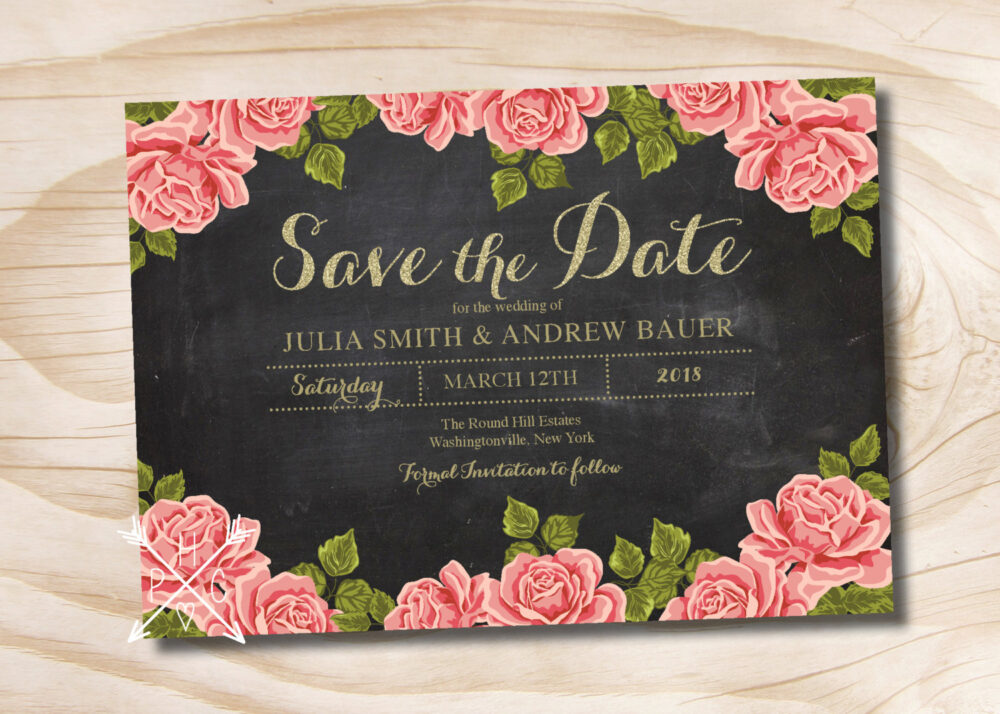 Chalkboard Gold Glitter Floral Wedding Save The Date - Printable Digital File Or Printed Invitations