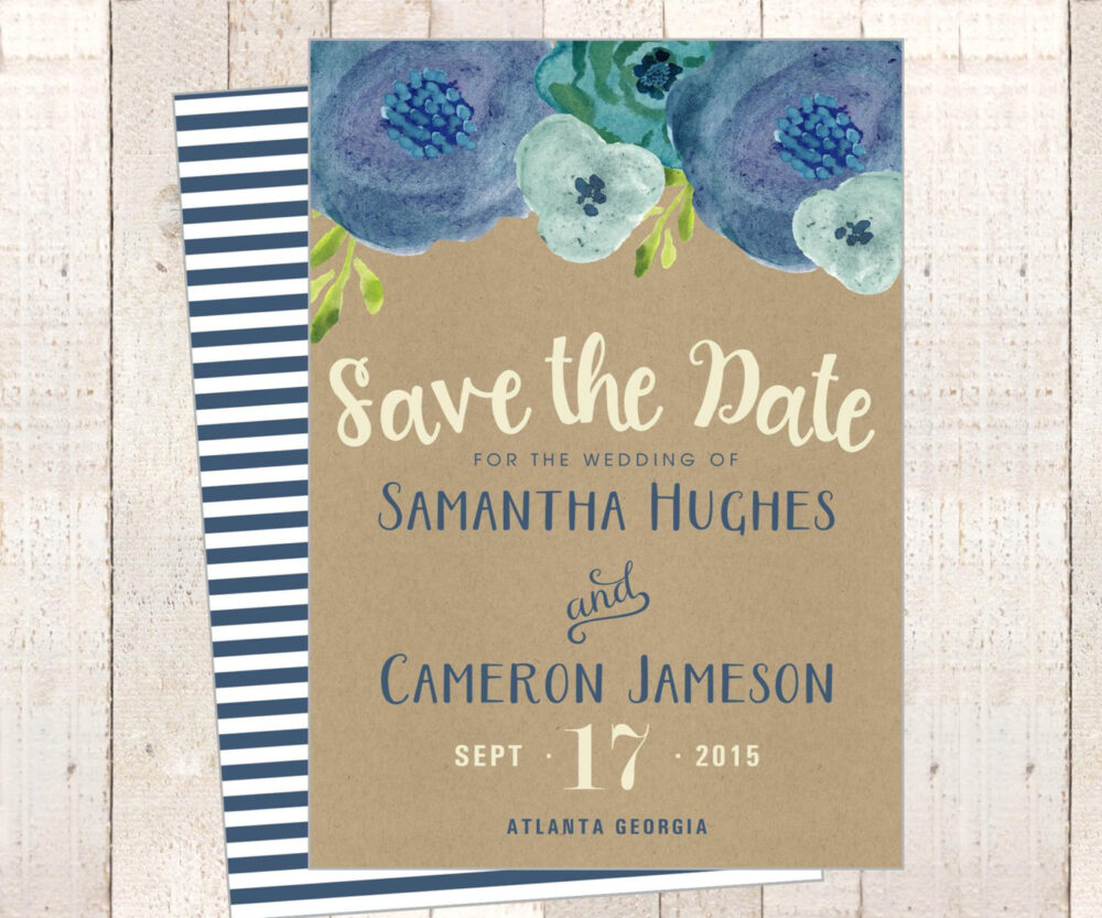 Printable Save The Date Card Or Bridal Wedding Baby Shower Invitation - Kraft Navy Blue Powder Floral Flowers Stripe Back