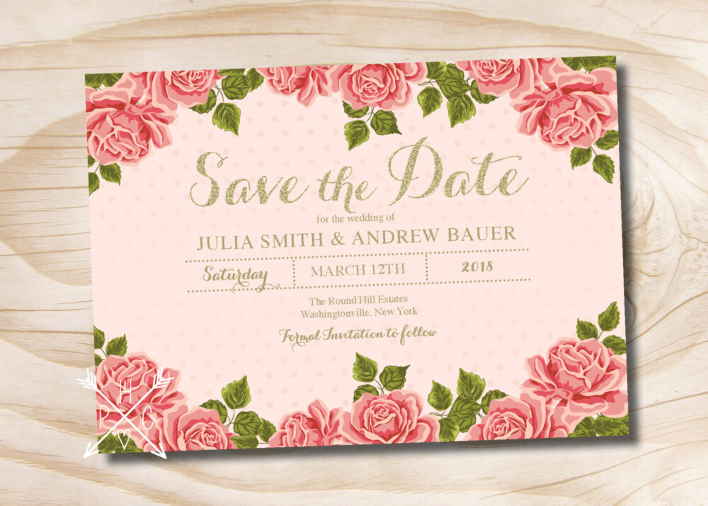 Gold Glitter Floral Wedding Save The Date - Printable Digital File Or Printed Invitations