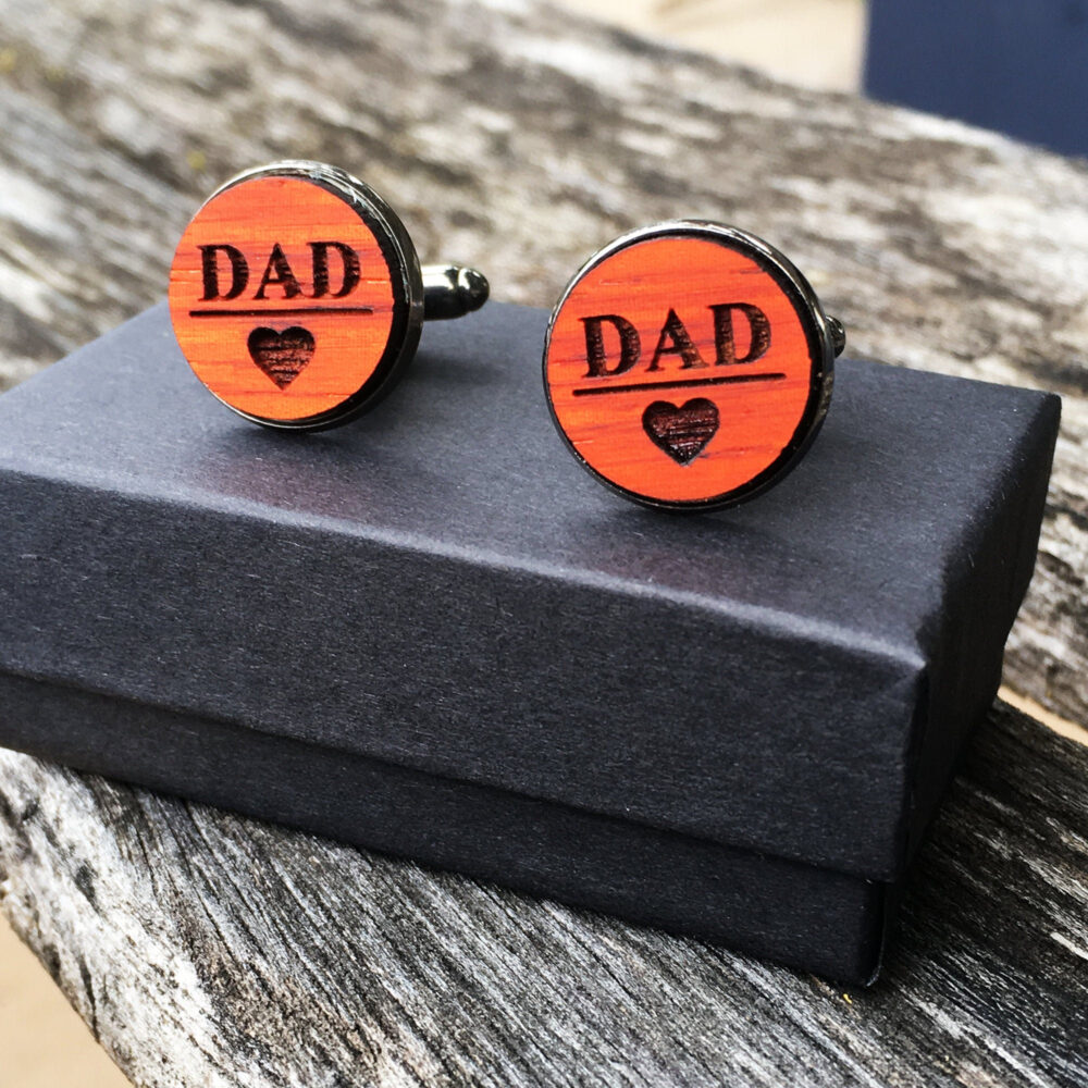 Dad Personalized Wood Engraved Cufflinks For Father Of The Bride | Groom Anniversary Gift New Dad Custom Wedding