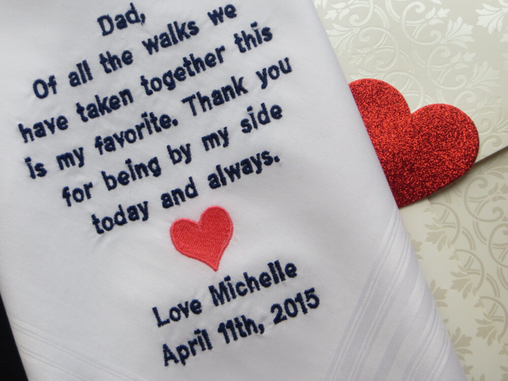 Personalized Handkerchief, Embroidered Wedding Father Of The Bride Gift For Dad
