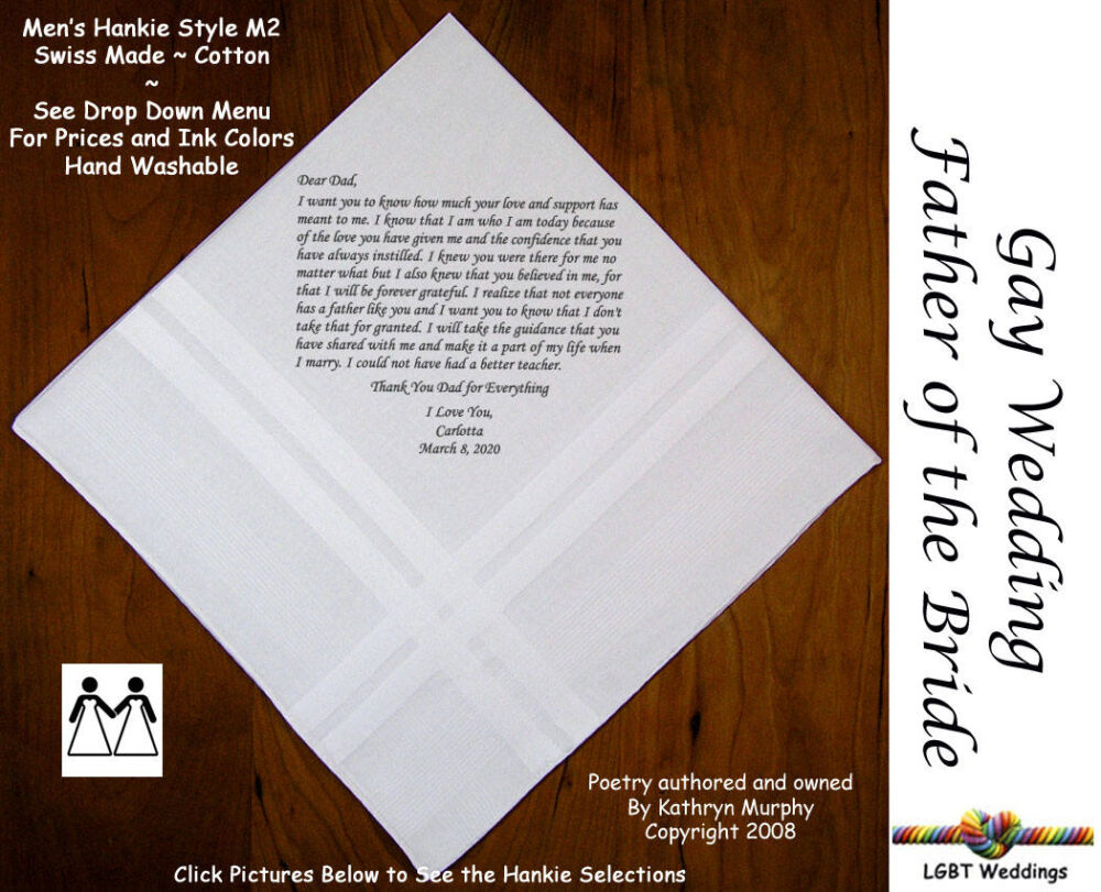 Gay Weddings ~ Father Of The Bride Gifts Wedding Handkerchiefs Fob Handkerchief From L209 Sign & Date For Free