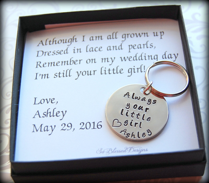 Father Of The Bride Keychain, Gift For Bride, Personalized Nickel Silver Keychain, Complete Boxed Gift Set Father Bride