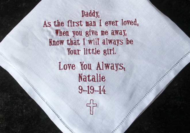 Father Of The Bride Embroidered Wedding Handkerchief, Father Bride Memento, Christian Wedding, Personalized Gift