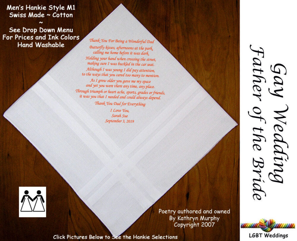 Gay Weddings ~ Father Of The Bride Gifts Handkerchiefs Fob Wedding Handkerchief From L205 Sign & Date For Free