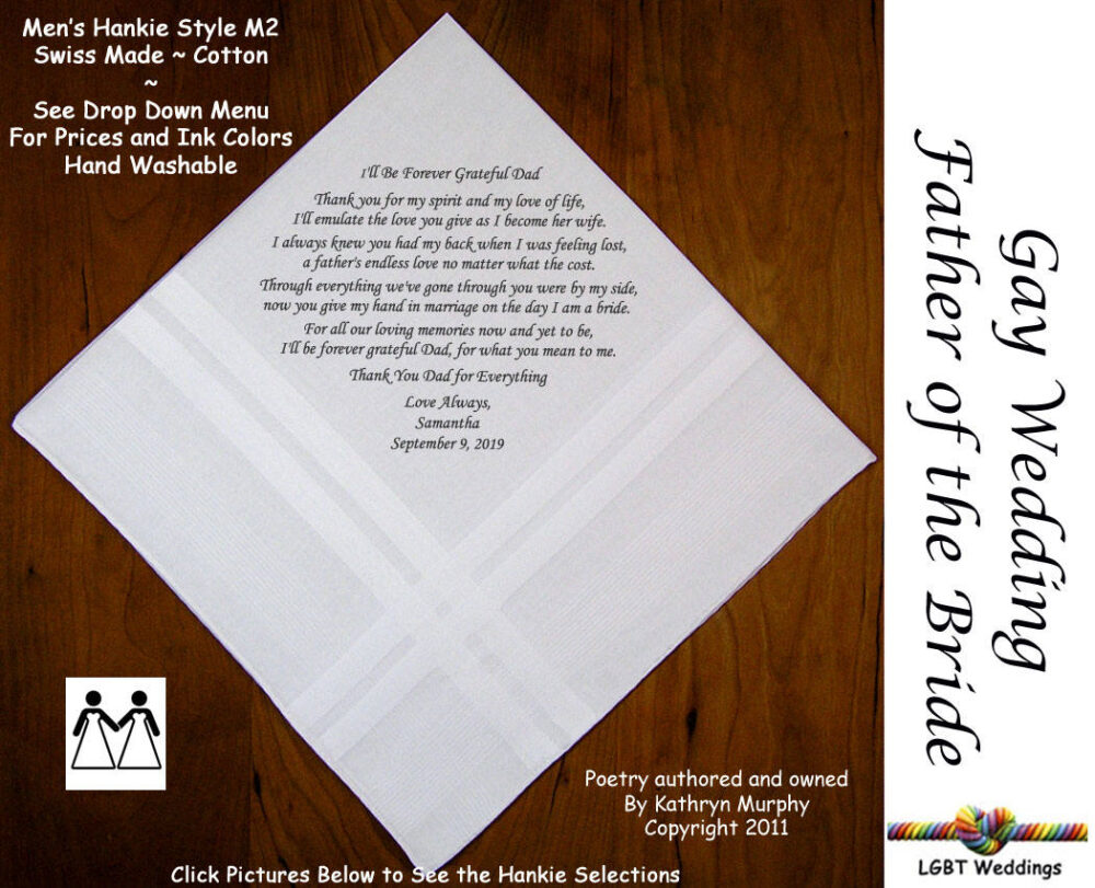 Gay Weddings ~ Father Of The Bride Gifts Wedding Hankerchiefs Fob Hanky From L215 Sign & Date For Free