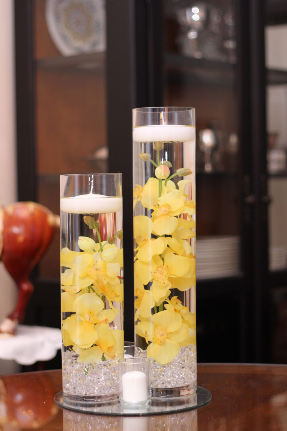 Floral Floating Candle Cylinder Vase Set with Mirrorm-Orchids-Yellow, White, Red-Sweet 16-Wedding-Shower-Party-Birthday-Flowers