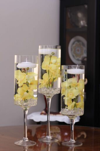 Floral Floating Candle Stem Cylinder Vase Set Of 3-Orchids-Yellow, White, Red-Sweet 16-Wedding-Shower-Party-Birthday-Flowers-Aniversary