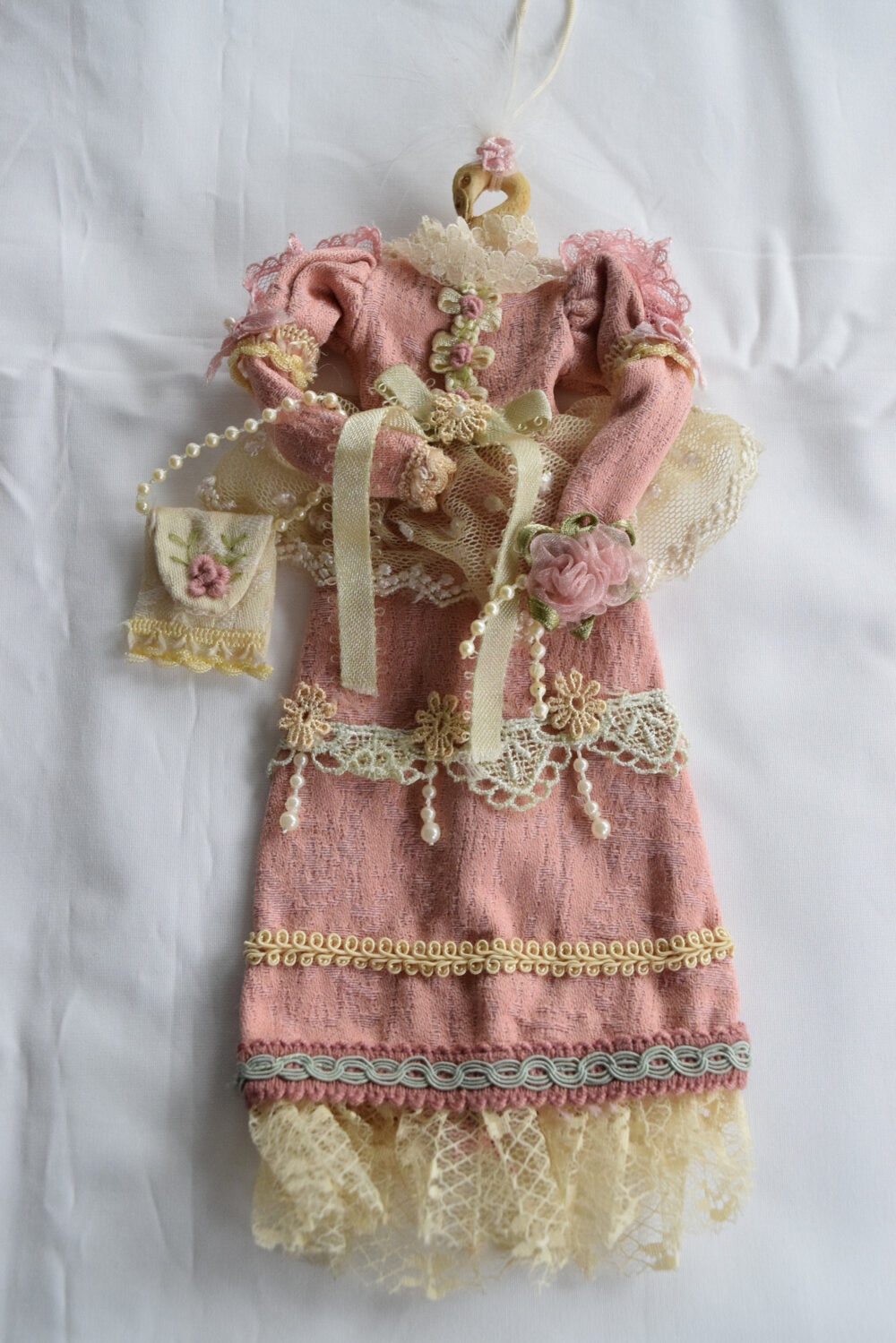 Victorian Dress Ornament Doll Size Christmas Lace Trim Vintage Girl Purse Rose Pink Ecru Swan Hanger Tree Decoration Floral Pearl Feathers