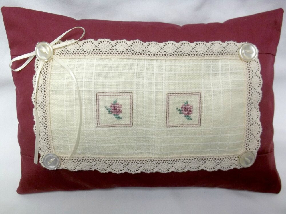 "Rose Cross Stitch Pillow Cottage Chic Flowers Lace Trimmed 8 1/2"" X 12"""