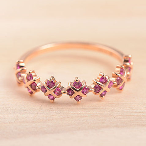 Rose Gold Ruby Wedding Band Half Eternity Floral Cross Shape Unique Promise Stacking July Birthstone Dainty Anniversary Gift For Her