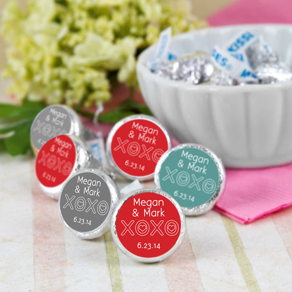 Hugs & Kisses Hershey Kiss® Stickers - Kiss Wedding Candy Labels Custom Favors
