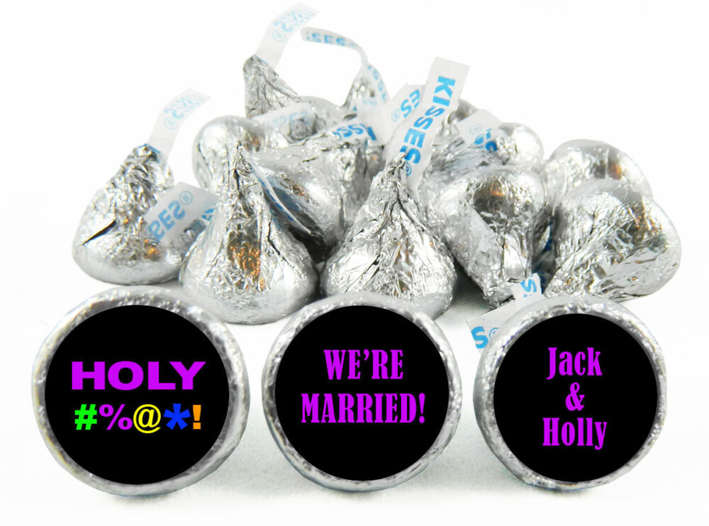 Holy Bleep Personalized Wedding Stickers For Hershey's Kisses. Labels Kisses - Party Favors Set Of 108