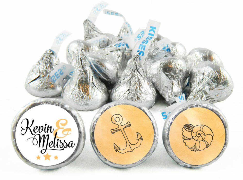 Beach Theme Personalized Wedding Stickers For Hershey's Kisses. Labels Kisses - Party Favors Set Of 108