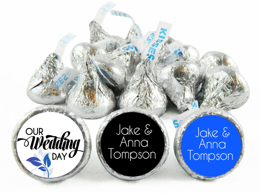Blue Floral, Any Colors, Wedding Stickers For Hershey's Kisses. Labels Kisses - Party Favors Set Of 108