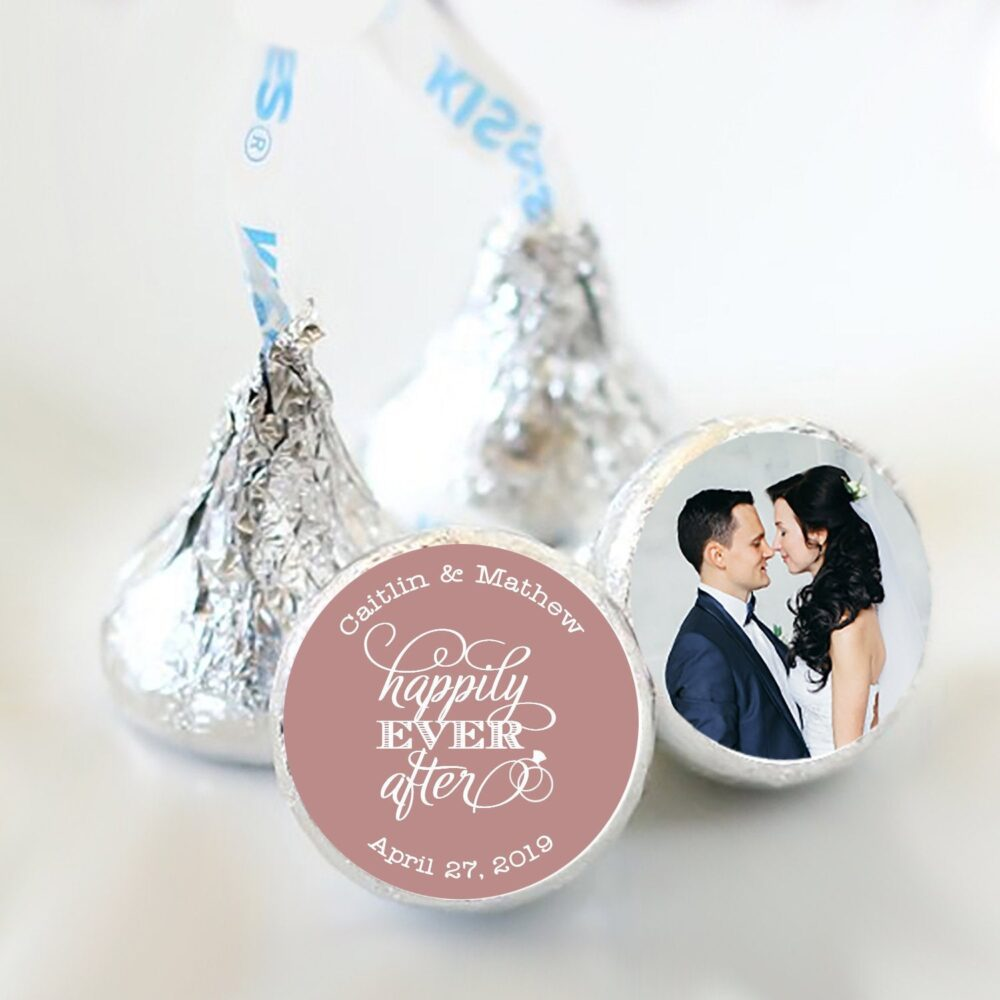 Personalized Happily Ever After Hershey Kiss® Stickers | Wedding Favors For Kisses| Kiss Labels 3/4""
