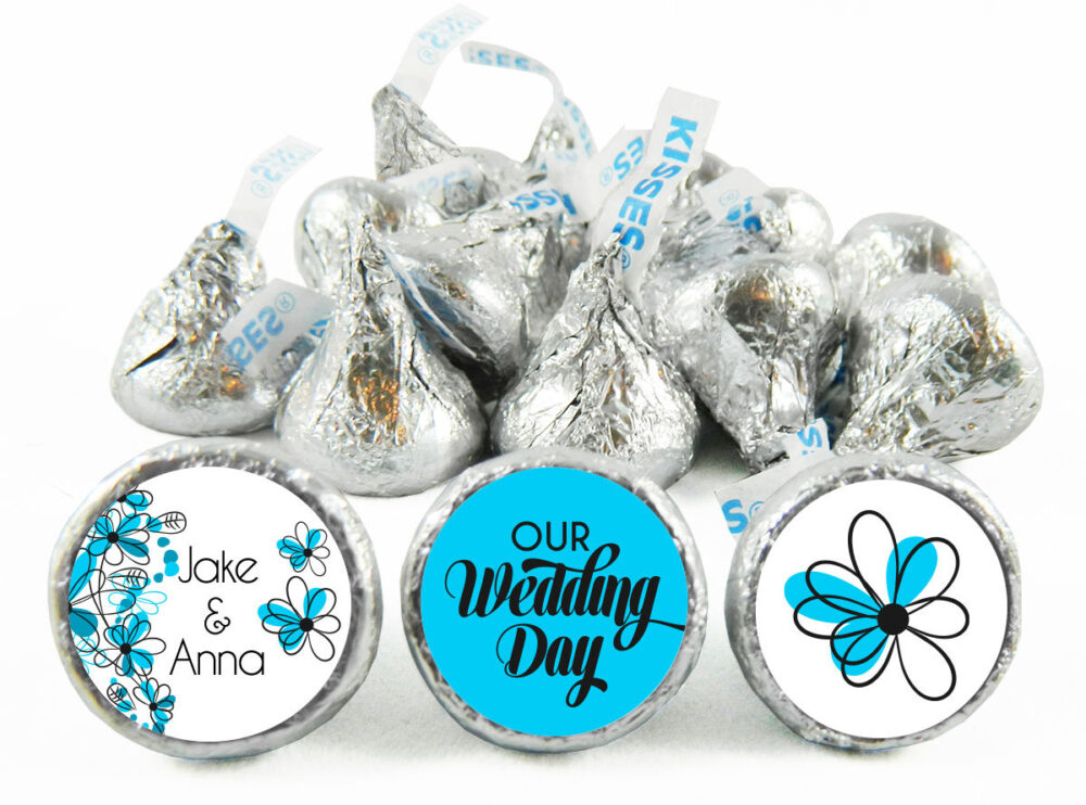 Blue Floral Wedding Stickers For Hershey's Kisses. Labels Kisses - Party Favors Set Of 108