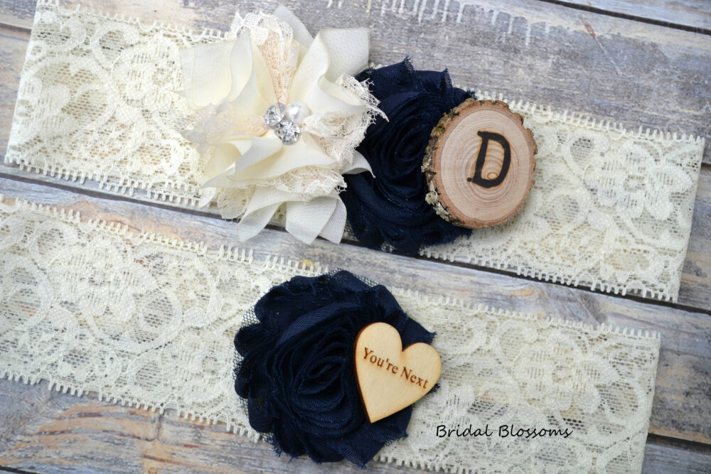 Ivory Navy Blue Bridal Garter Set With Initials   Chiffon Flower Garters Wood Rustic Country Wedding You're Next Toss Lace Plus Size