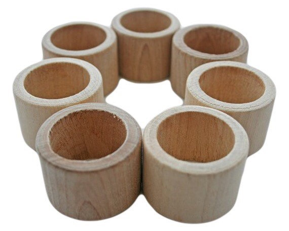 1 - Napkin Ring Holder, Wedding Rings, Unfinished Wood Diy Wooden Table Setting Decor, Natural