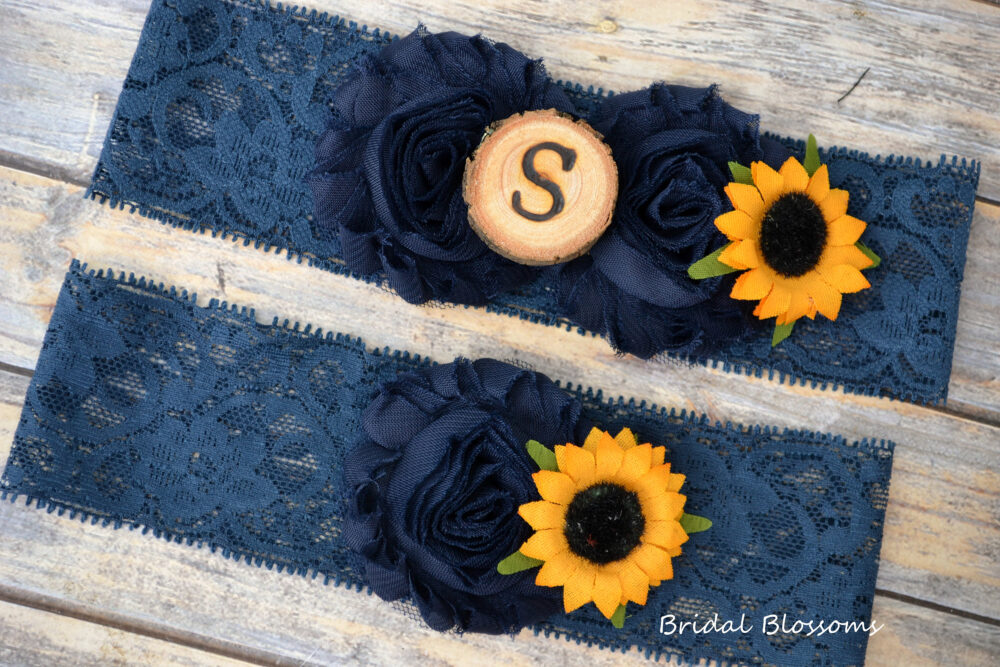 Navy Blue Sunflower Bridal Garter Set With Initial   Chiffon Flower Garters Wood Rustic Country Wedding Stretch Lace Plus Size