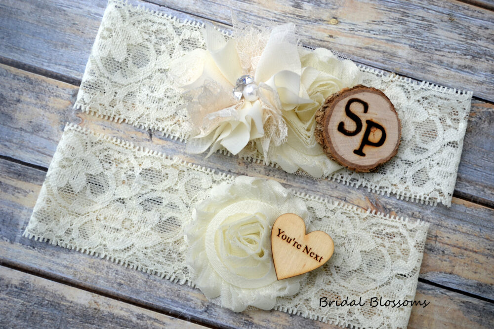 Ivory Bridal Garter Set With Initials   Chiffon Flower Garters Wood Rustic Country Wedding You're Next Toss Stretch Lace Plus Size