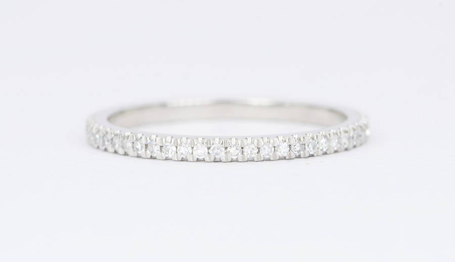 Platinum Diamond Ring 1.5mm Full Eternity Pt950 Micro Pave Wedding Band Engagement Set Stacking Rings Christmas Gift For Her Ad1101Ep