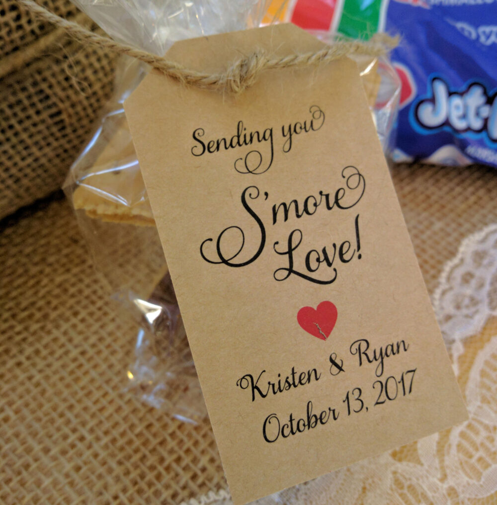 S'mores Wedding Favor, S'more Love Tags, Smores Favors Smore Tags Rustic Tags Only, Fancy Font