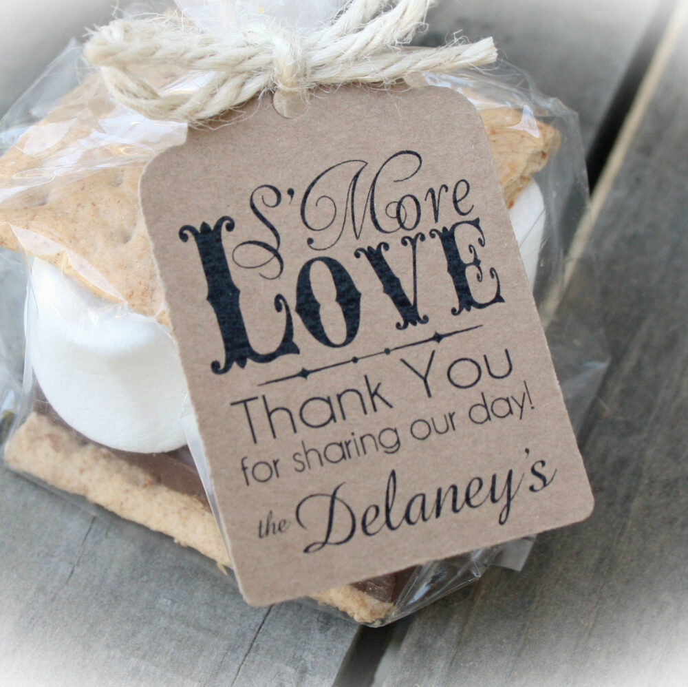 20-100 Kit - S'more Wedding Favor Kits-3 Tag Colors | Diy Bags/Favor Tags W/Ribbon-S'mores Bridal Shower Favors Smore's Wedding