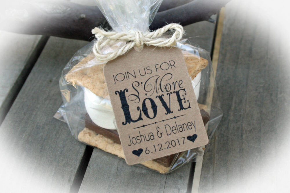 Engagement Party Favor | Rehearsal Dinner Favors Smore Love Favor-3 Tag Colors Diy Bags/Favor Tags W/Ribbon Or Twine Bag Sz Lge