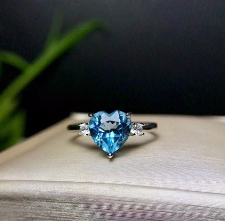Blue Topaz Ring, Heart Cut 77 Natural Topaz 925 Sterling Silver Engagement Ring, Gift For Her