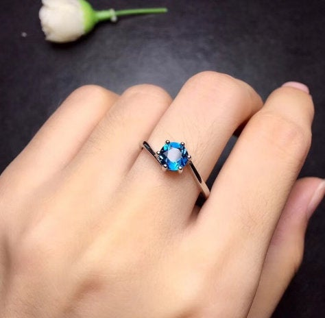 Blue Topaz Ring, Dainty Ring, 925 Sterling Silver Handmade Jewelry, Engagement Ring, Gift For Women, December Birthstone Ring