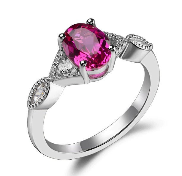 925 Sterling Silver Ring Lab Created Ruby Engagement Ring Size 4 To 12 Gift For Sister Her Custom July Birthstone Cz