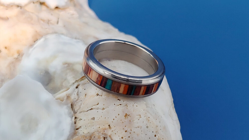 Handmade Ring, Wood Dyed Wood, Band, Anniversary Gift, Titanium 5Th Year Anniversary, Gift For Her, Promise Ring