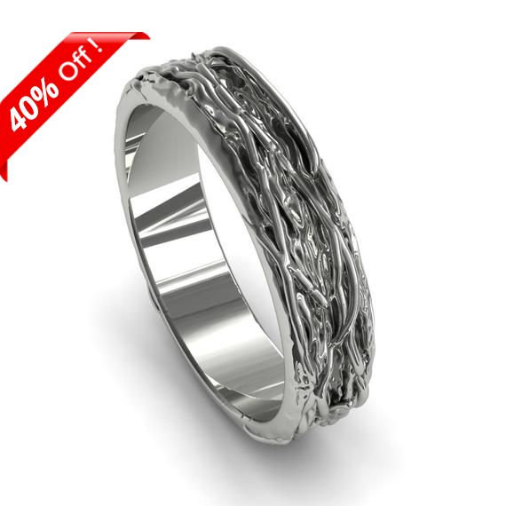 Unique Mens Ring Wedding Band White Gold Unisex Ring Gift For Him Luxury