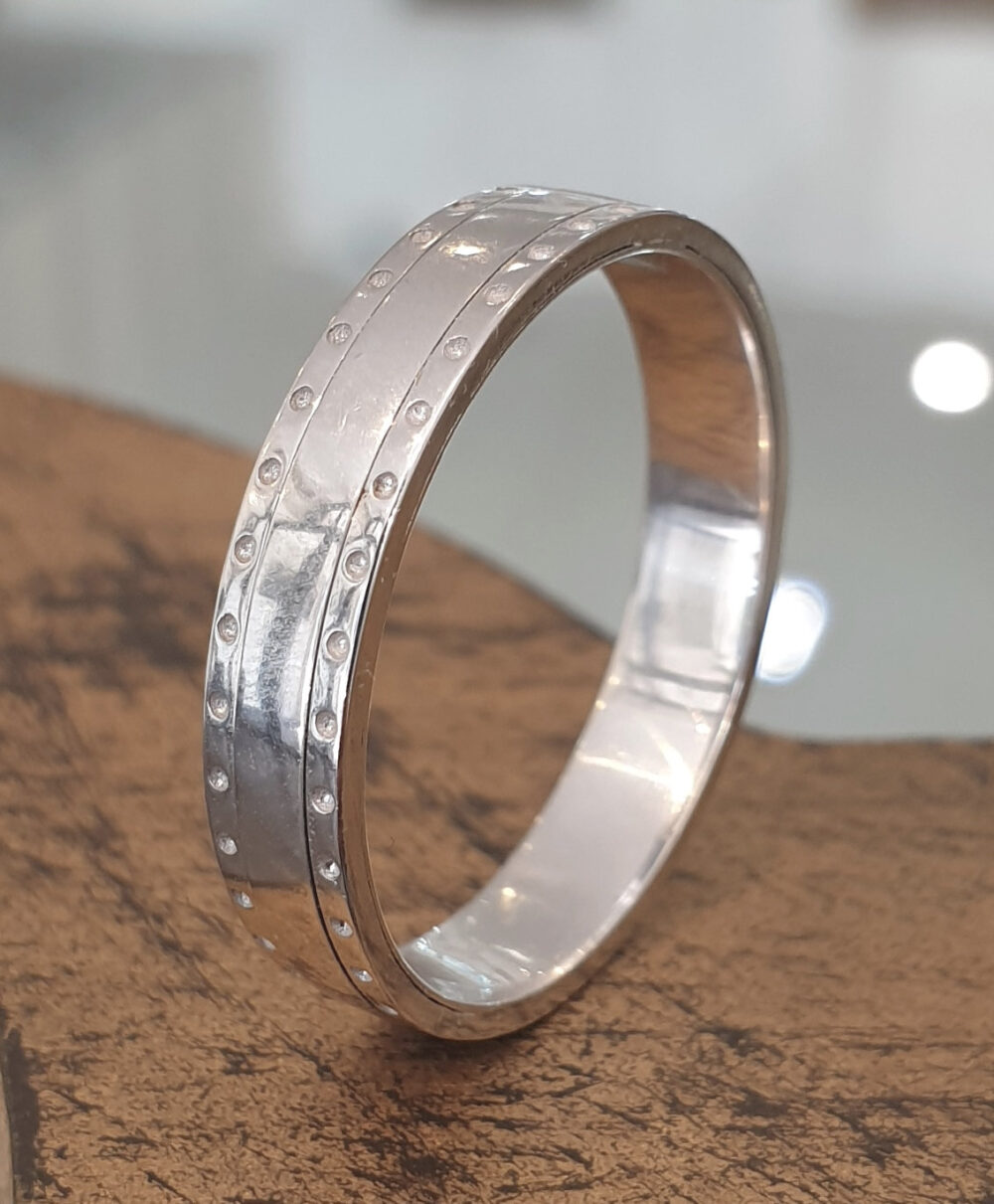 Mens Wedding Band 14K White Gold, Unique Ring, Gift For Men