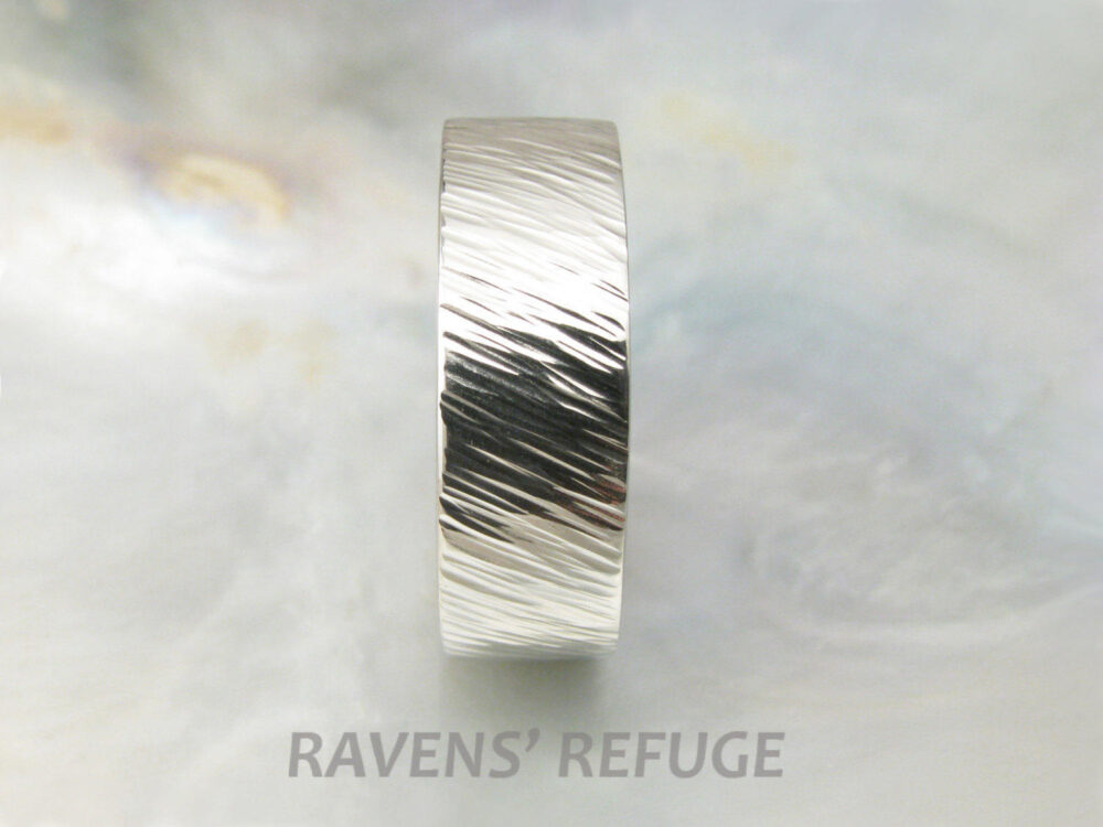 7mm Men's Wedding Ring White Gold Twisted Wheat Band Organic & Textured