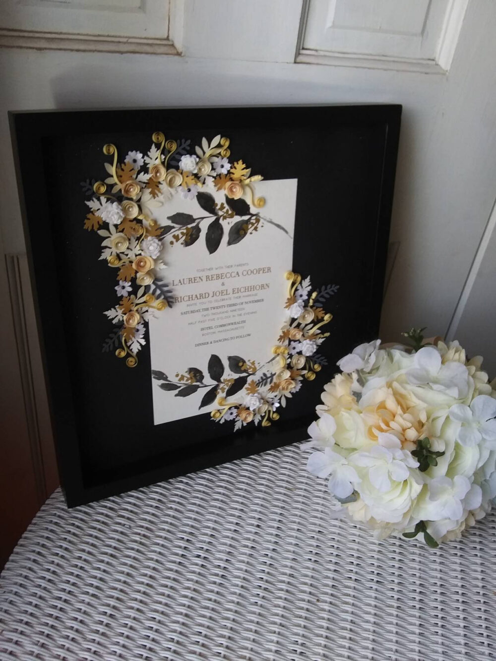 Black & Gold Wedding Elegant Framed Keepsake Invitation Tie