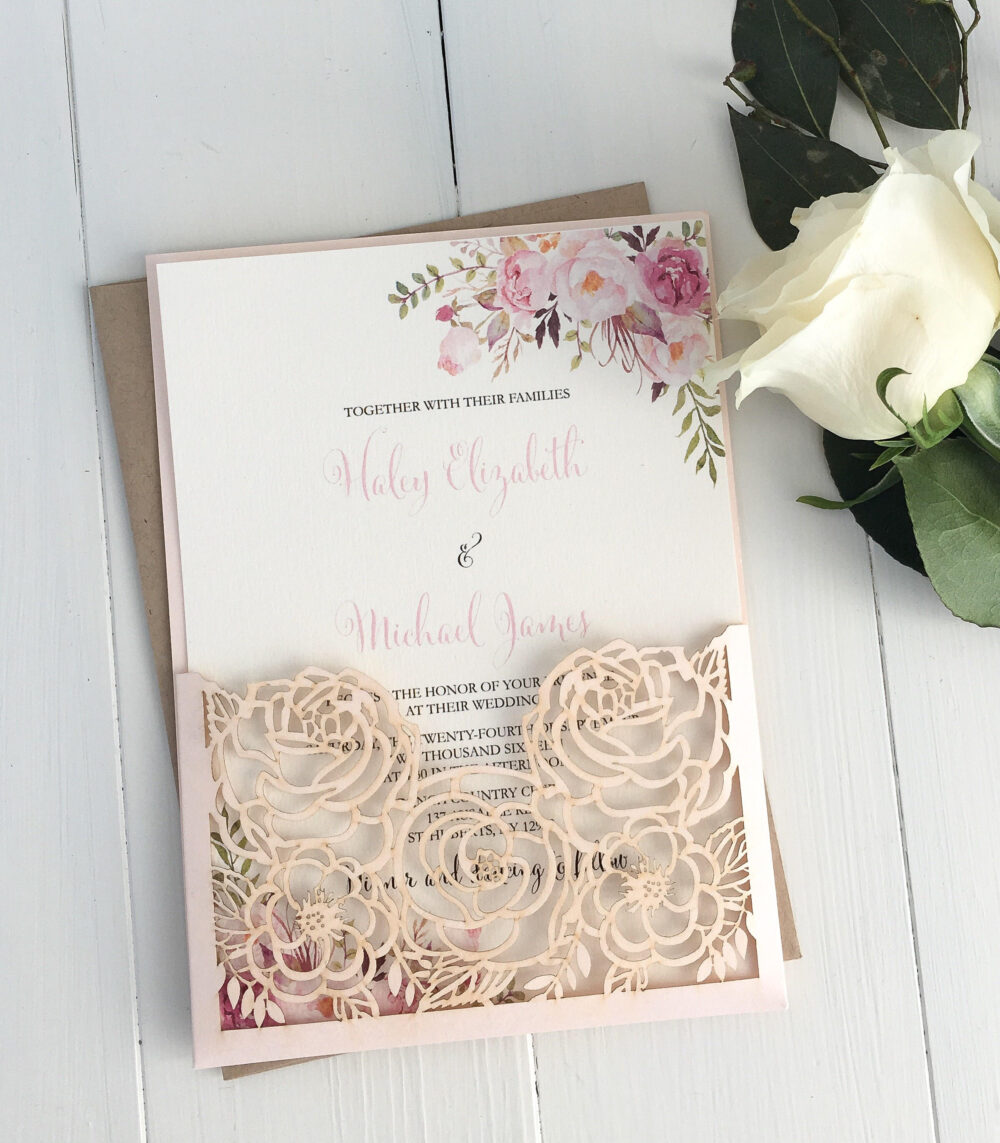 Blush Laser Cut Invitation, Floral Wedding Elegant Boho