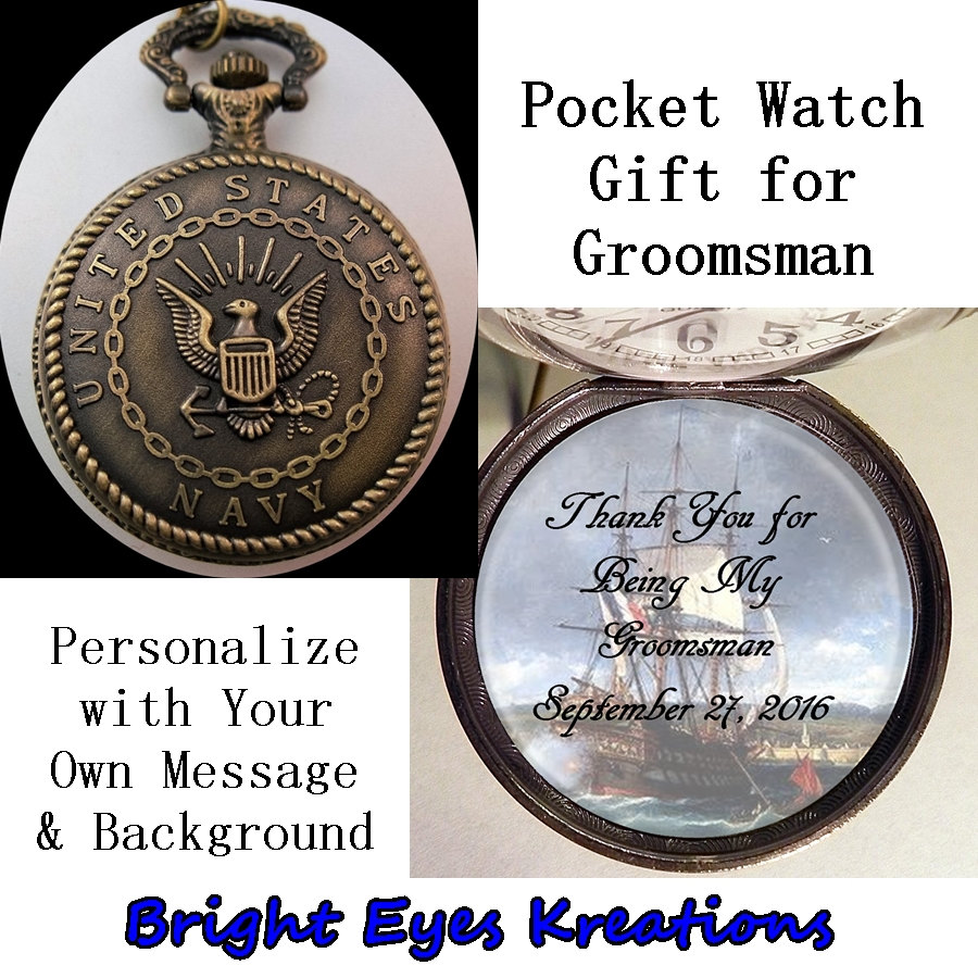 "Custom Navy Military Pocket Watch Personalized Groomsman Gift W/31"" Chain Or 14"" Belt Case For Groom"