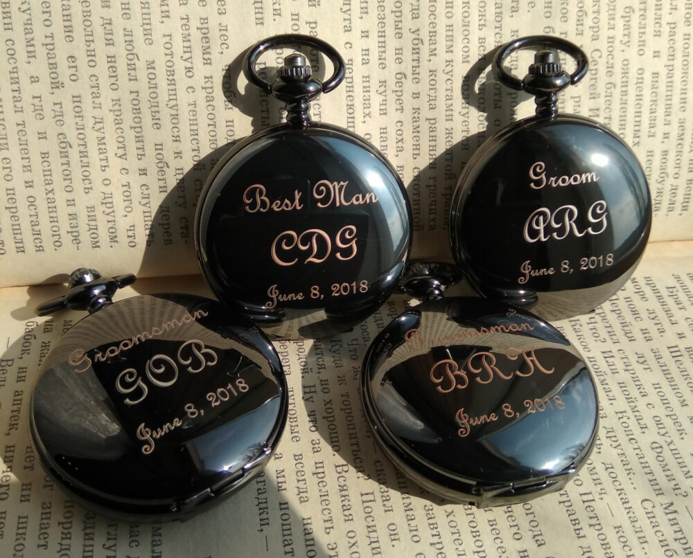 Pocket Watch, Mens Engraved Wedding Gifts, Personalized Groom Gift, Custom Engraving, One Year Anniversary