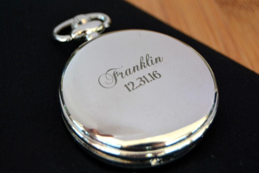 Engraved Mens Pocket Watch, Monogrammed Personalized Groomsmen Gift, Groom Watch Wedding Party Gifts, Gift For