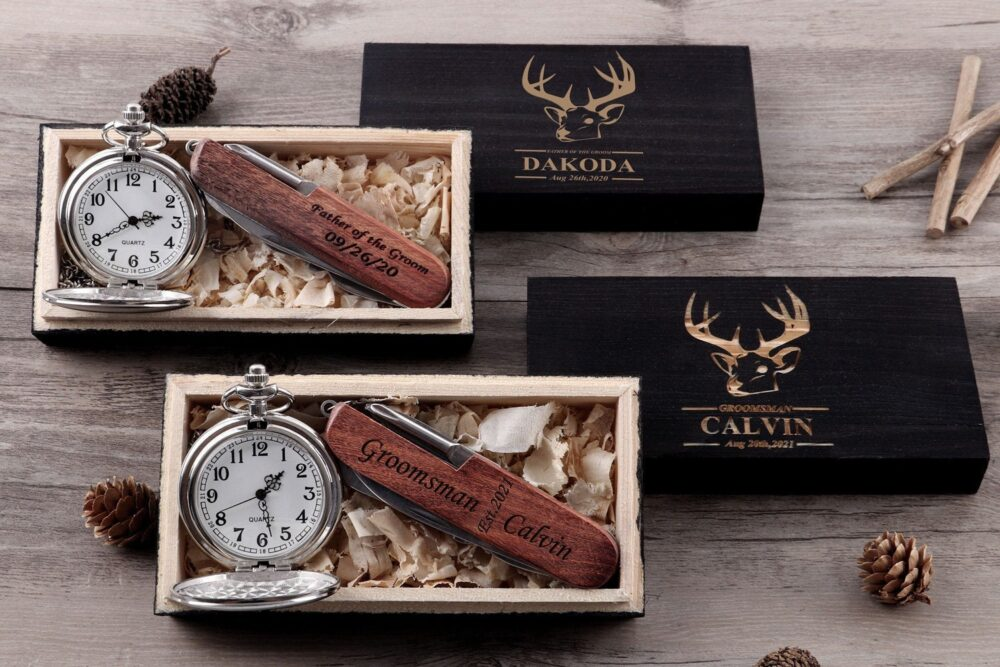 Personalized Pocket Knife Watch Groom Gift Groomsmen Mens Multi-Tool Knives Wedding Set Engraved For Best Man