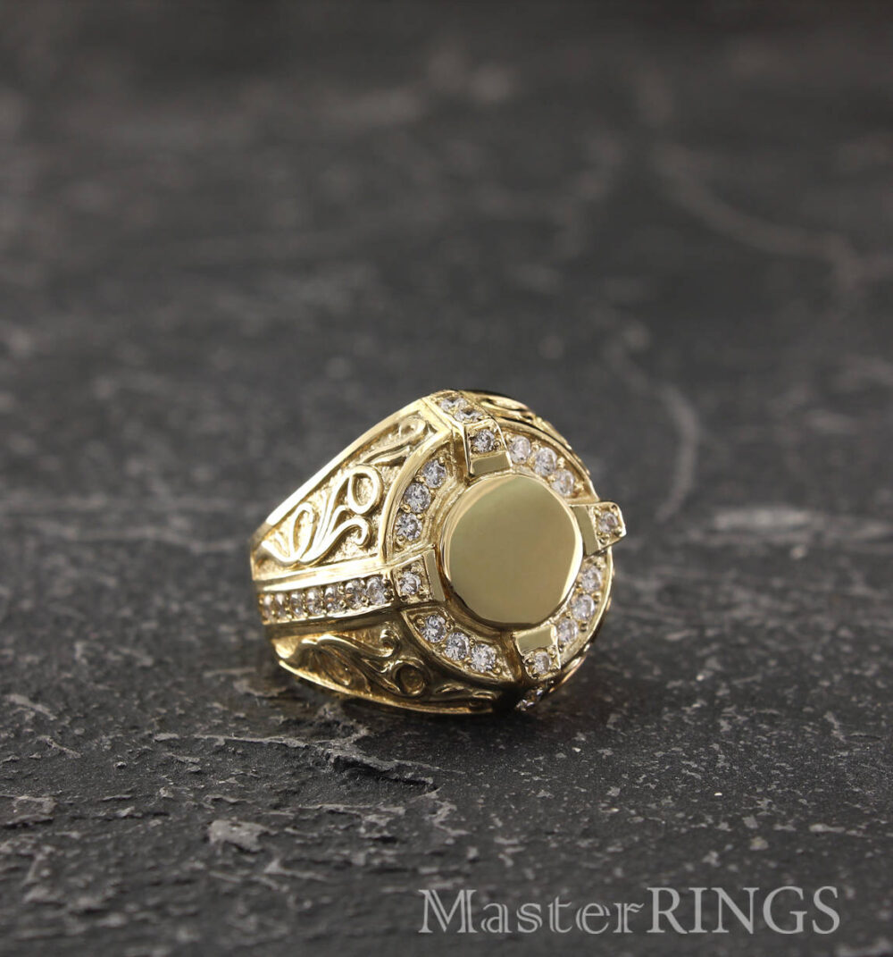 Antique Style Mens Signet Ring, Personalized Yellow Gold Mens Round Unique Large Gift For Dad