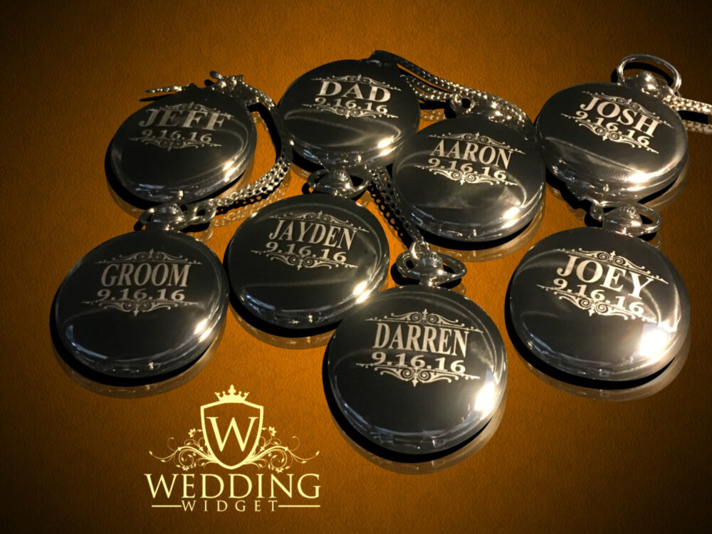 Groomsmen Gift - 6 Personalized Pocket Watches Bride & Groom Gifts Best Man, Usher Groomsman Set Wedding