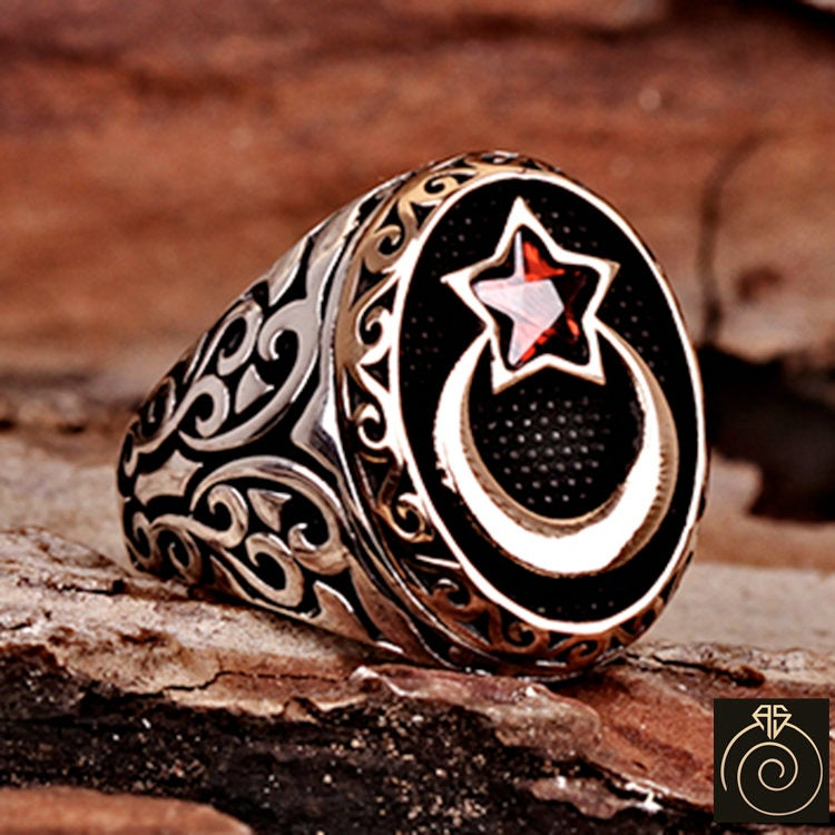 Unique Mens Ruby Star & Moon Ring, Vintage Silver Heraldic Signet Rings, Gift For Turkish Ottoman Jewelry Traditional Custom Relief Symbol