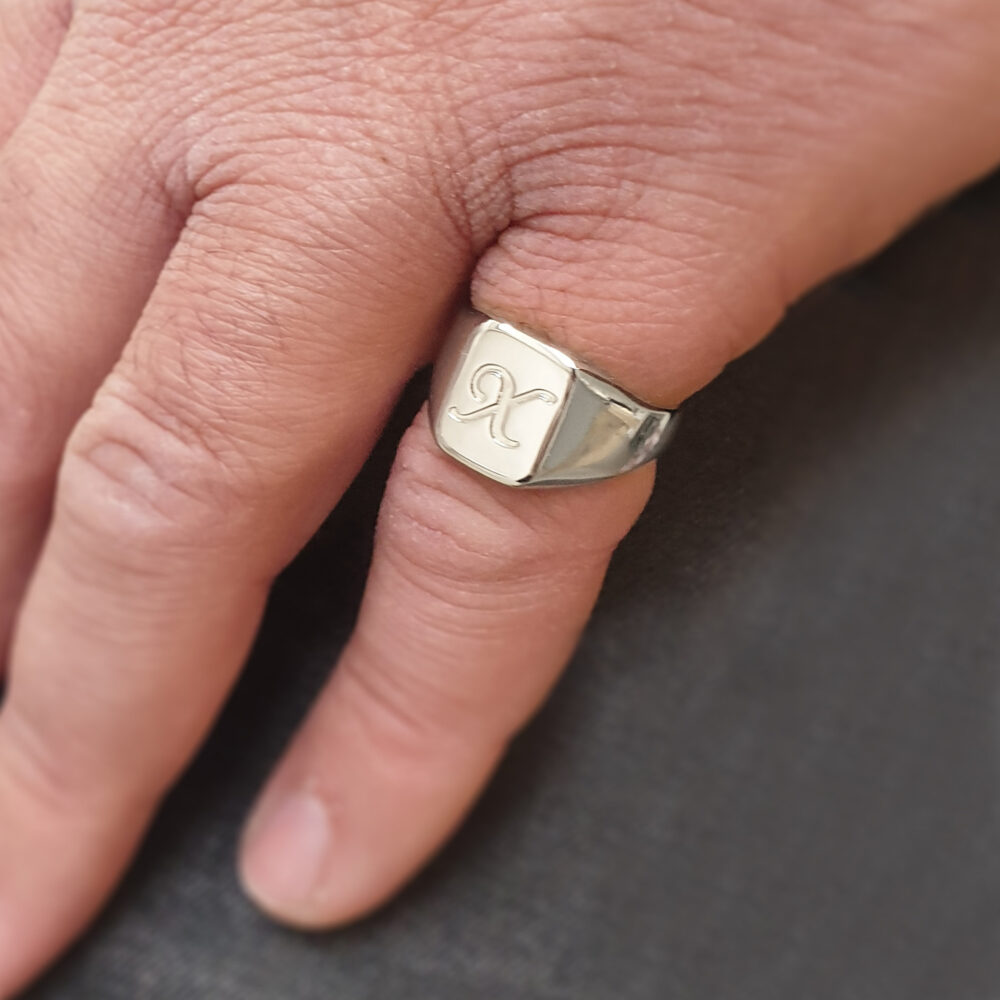 Men's Pinky Ring, Custom Signet Ring Engraved With Initial Letter in Sterling Silver, Personalized Gift For Husband & Dad
