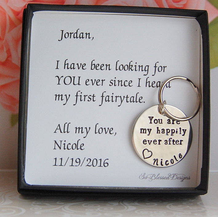Groom Gift From Bride, To Groom Bride, For Fiance, Happily Ever After, Wedding Day Gift, Personalized Keychain, Keychain