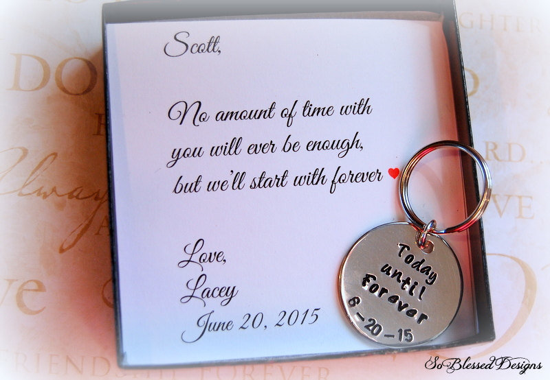 Groom Gift From Bride, Groom Gift, Today Until Forever Keychain, Bride To Groom Personalized For Groom, Wedding Keepsake