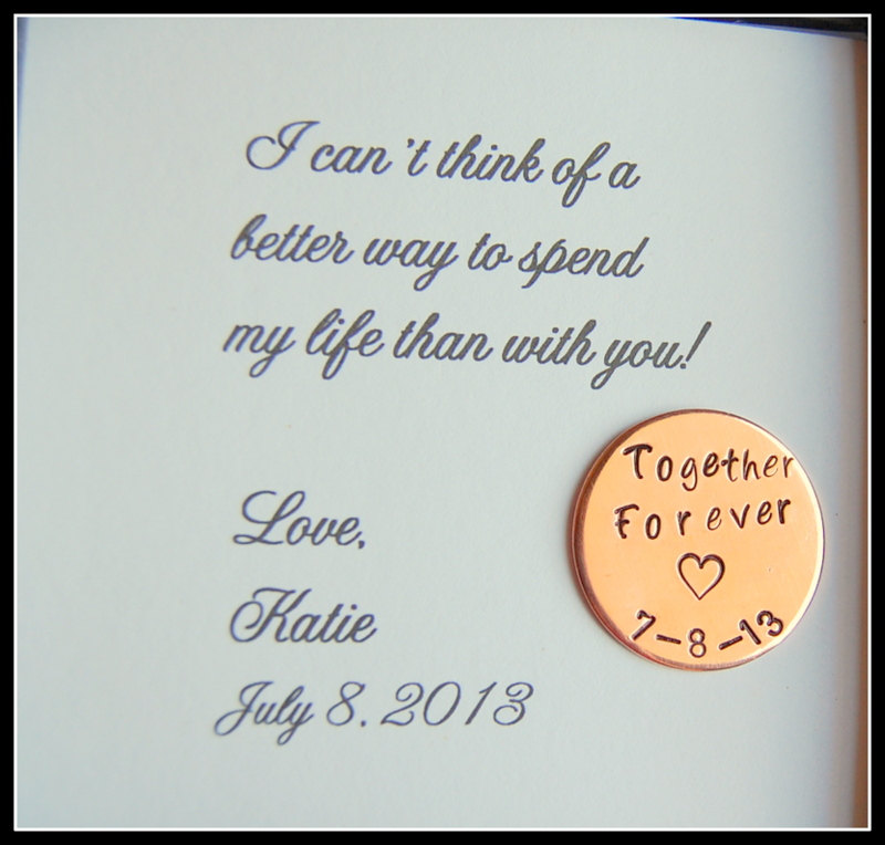 Grooms Gift From Bride, Love Notes Coin, Together Forever, Personalized Gift For Groom On Wedding Day, Bride To Groom